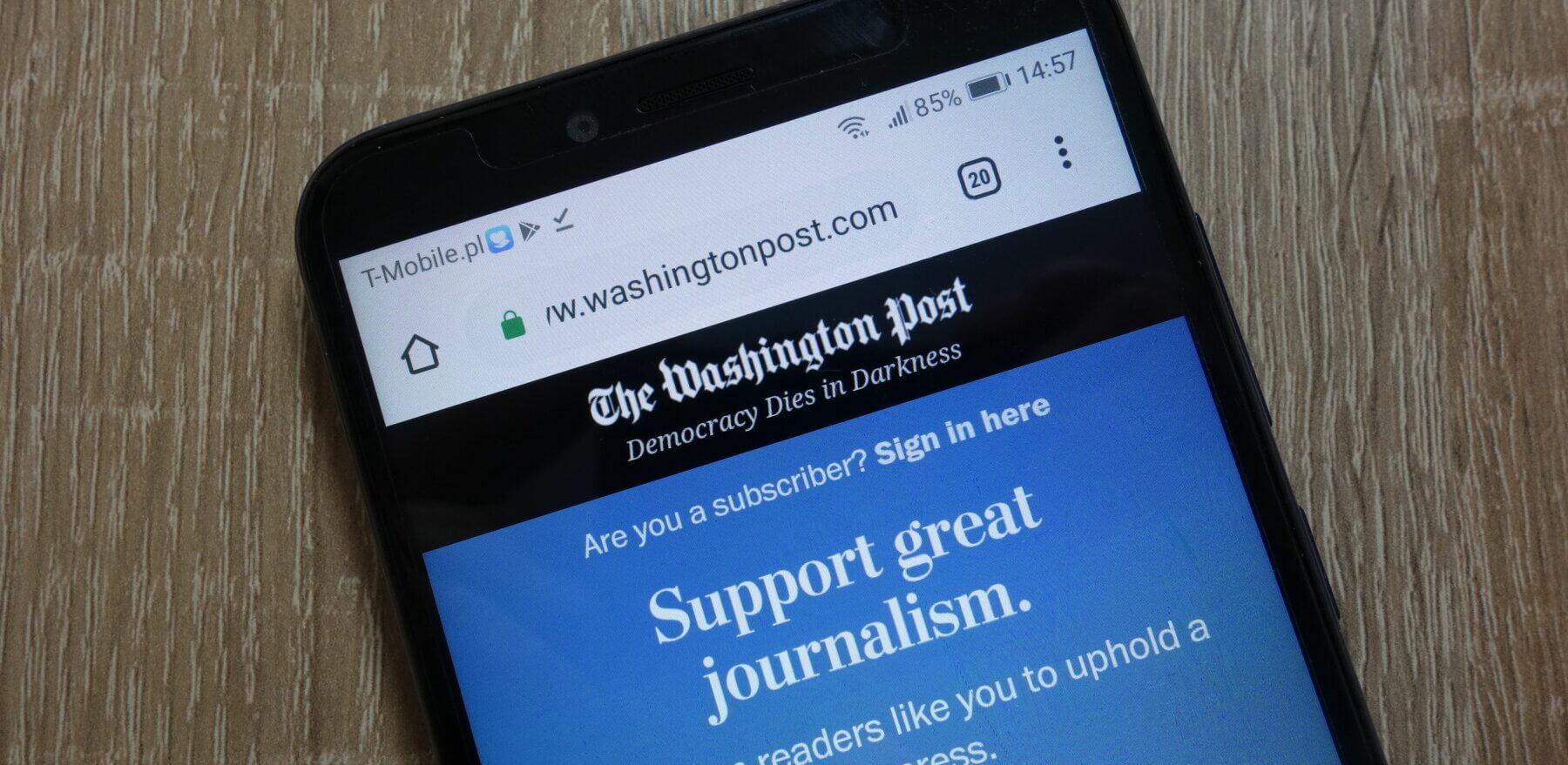 117319234 - konskie, poland - december 09, 2018: the washington post website (www.washingtonpost.com) displayed on smartphone