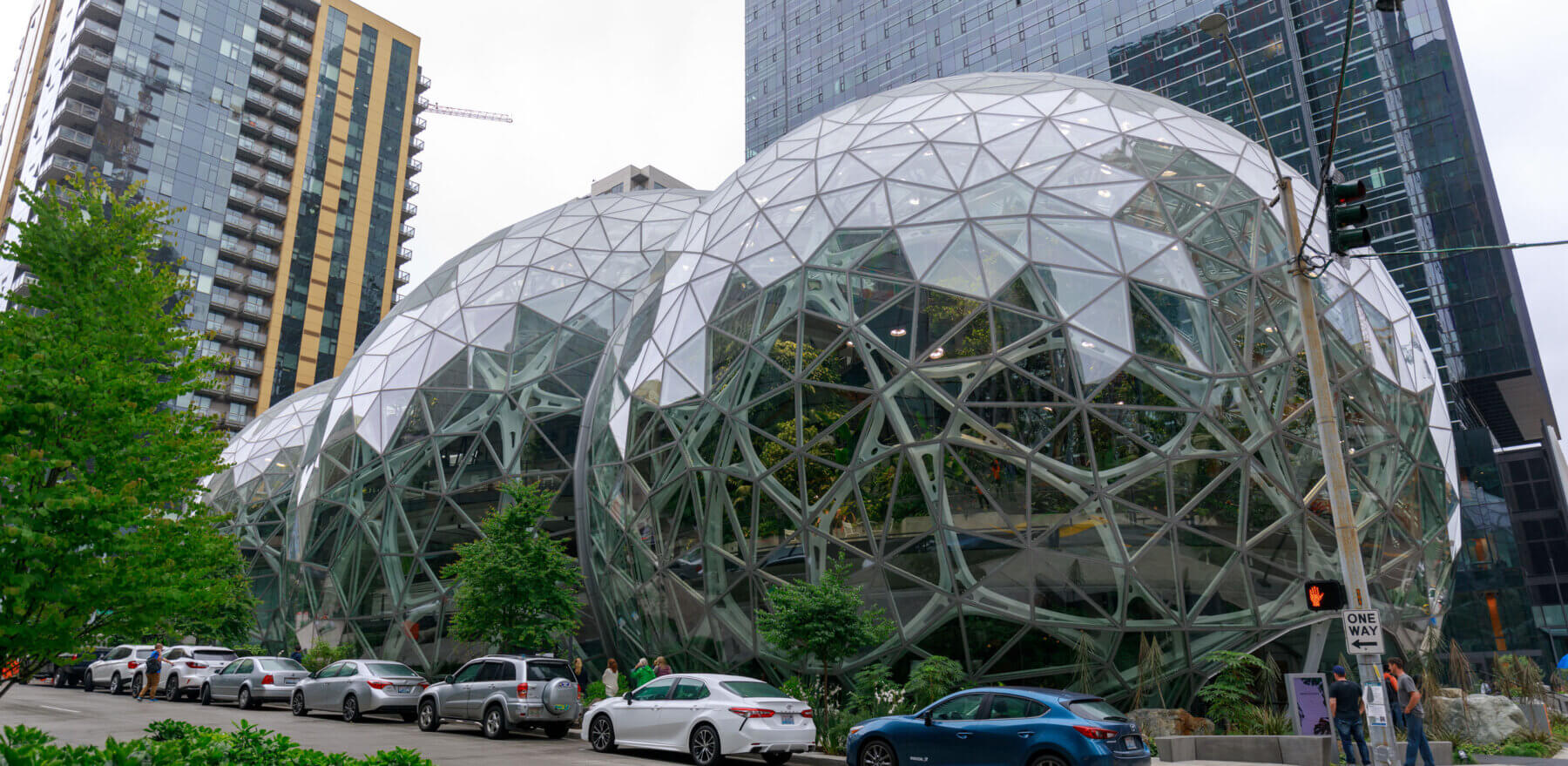 Seattle, Washington - June 30, 2018 : View of Amazon the Spheres at its Seattle headquarters and office tower in Seattle WA USA