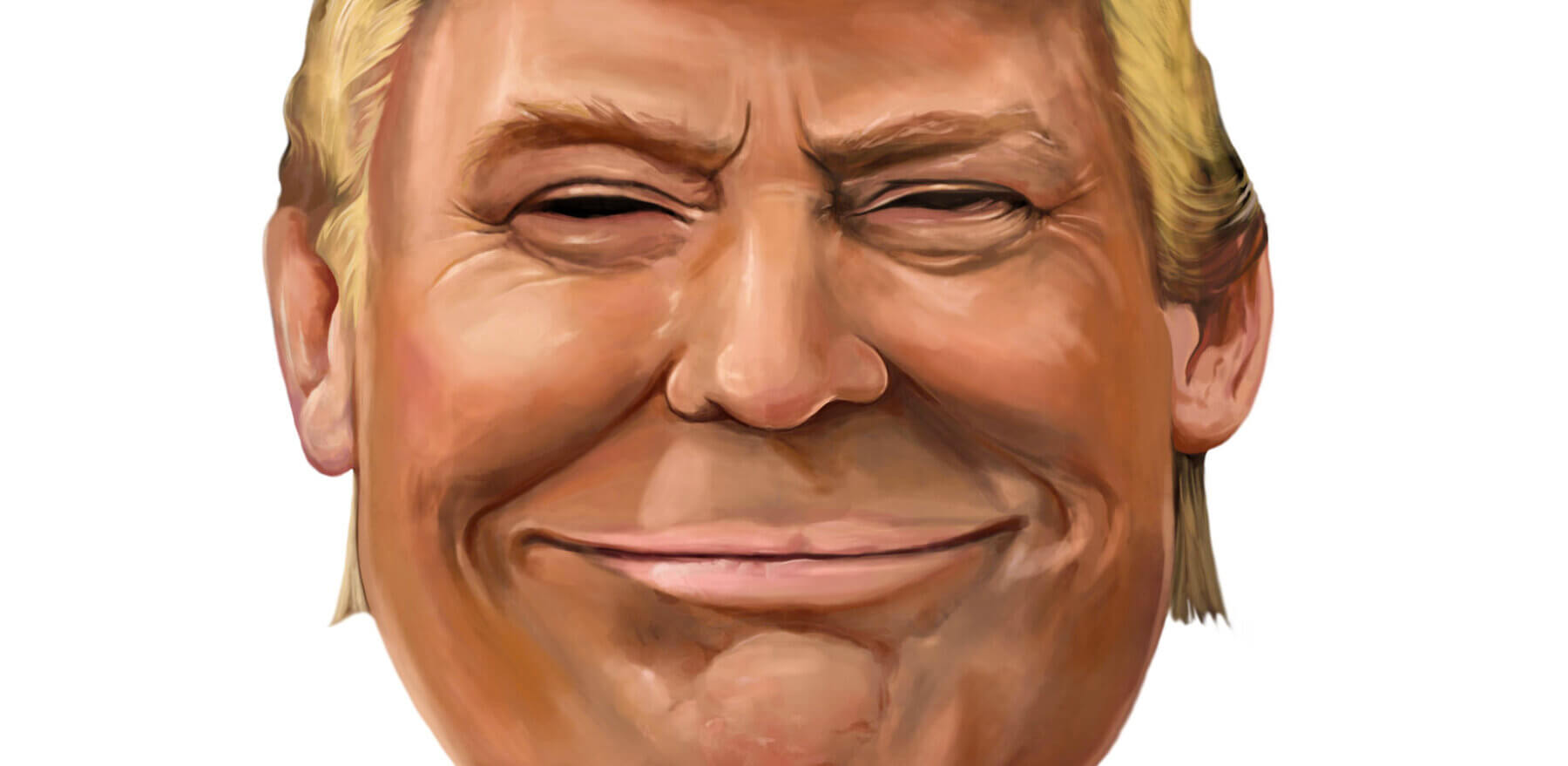 11 January 2017: President Donald Trump is smiling cartoon portrait.   Illustrated in Turkey by Erkan Atay.
