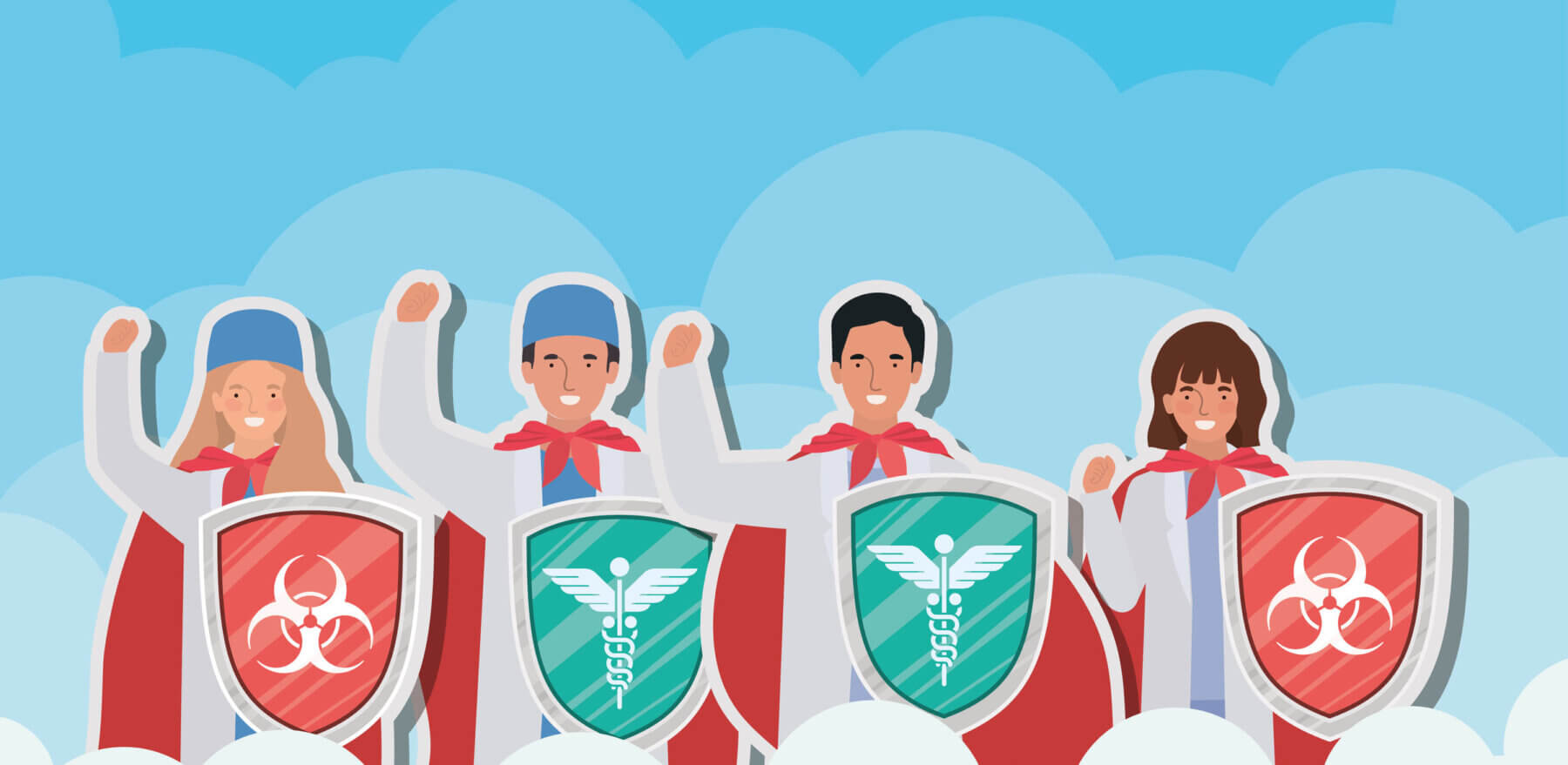 women and men doctors heroes with cape and shield against 2019 ncov virus design of Covid 19 epidemic disease symptoms and medical theme Vector illustration