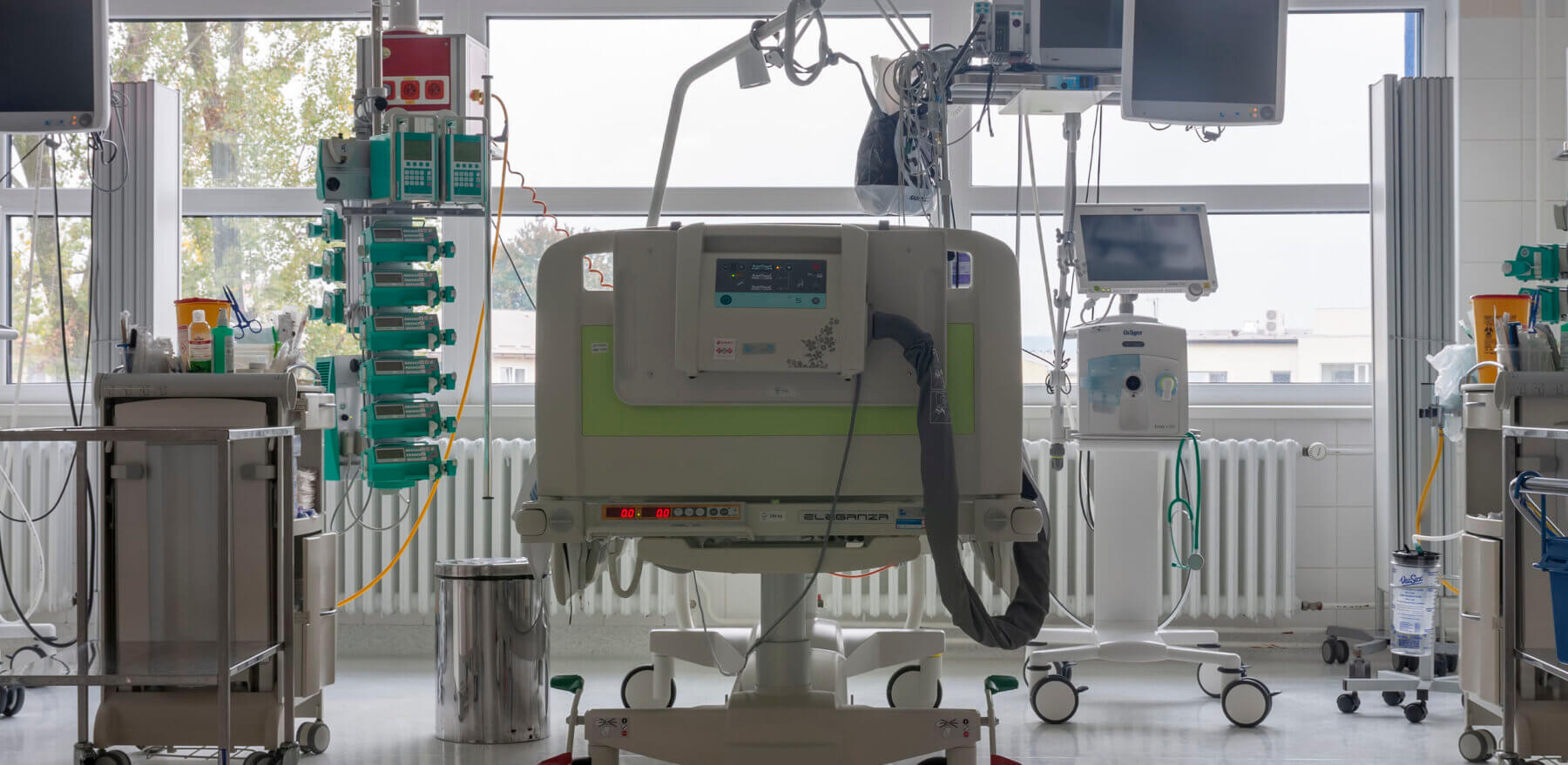 Svitavy, Czech Republic -September 21, 2017: Intensive care unit in hospital, bed with monitors, ventilator, a place where can be  treated patients with pneumonia caused by coronavirus covid 19.