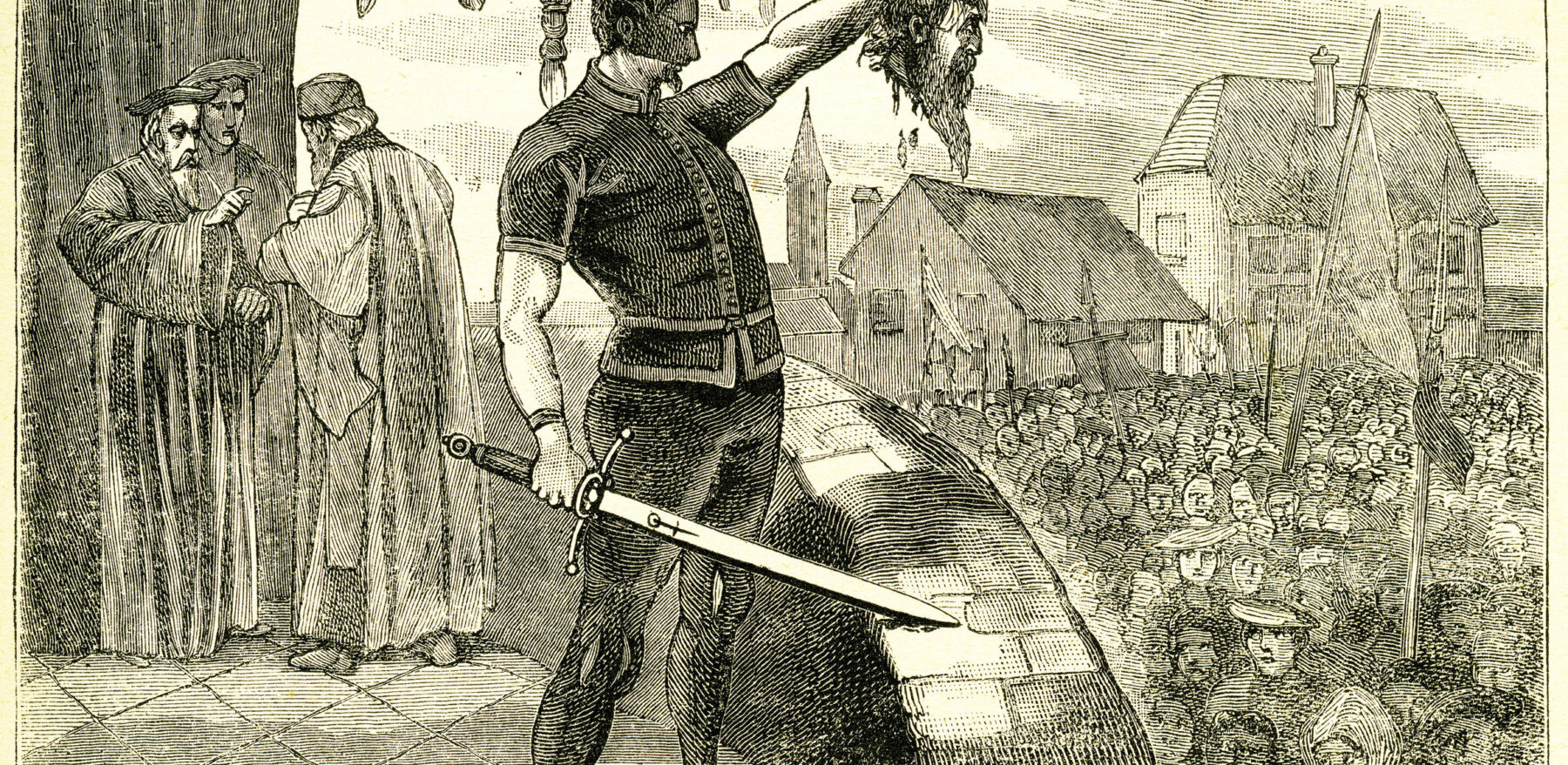 Engraving of an executioner holding up the head of a traitor. From an original engraving in the Boys of England magazine 1894.